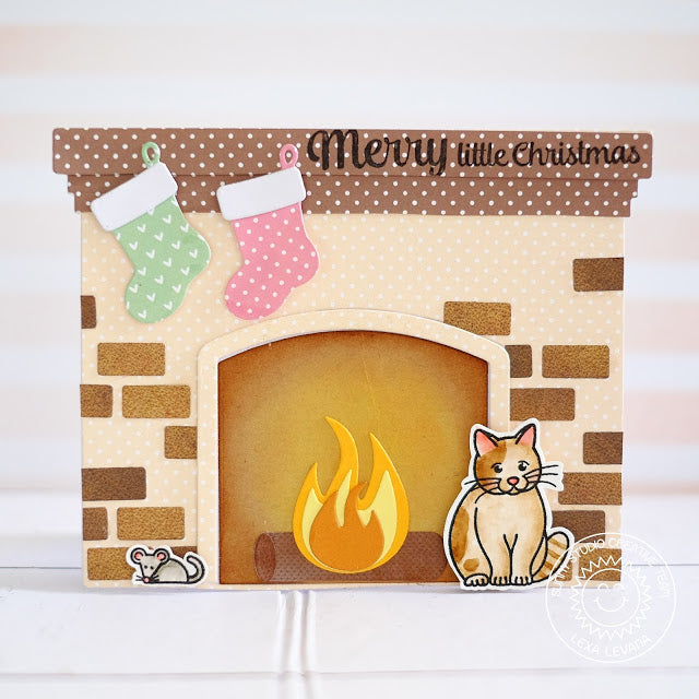 Sunny Studio Stamps Fireplace Shaped Christmas Card with Kitty Cat & Mouse by Lexa