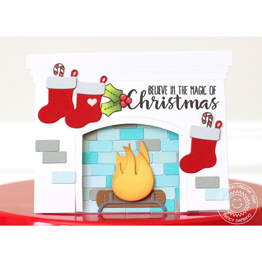 Sunny Studio Stamps Fireplace Shaped Christmas Card by Nancy