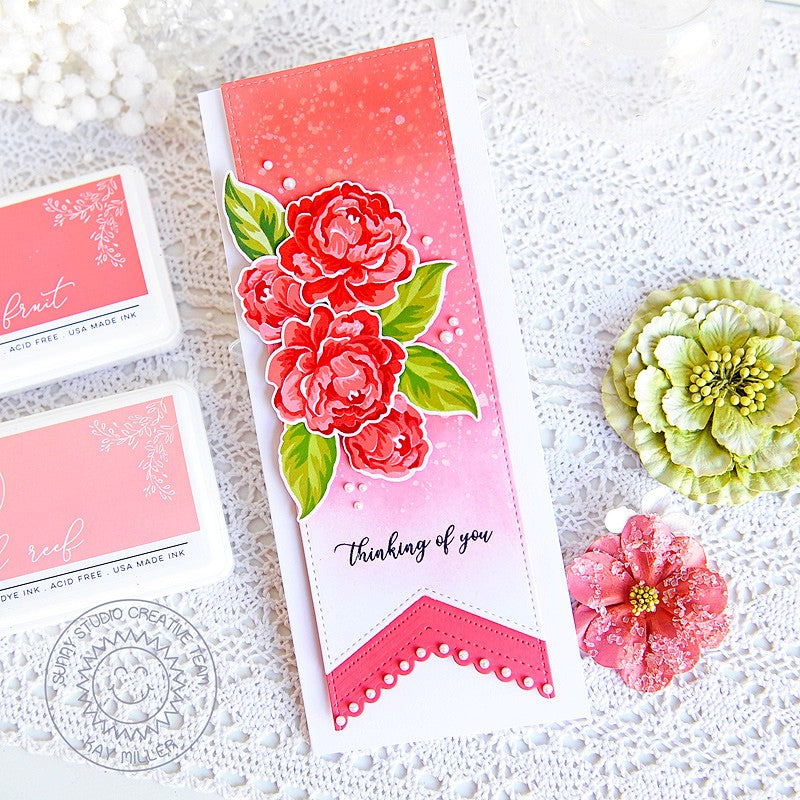 Sunny Studio Thinking of You Peonies Captivating Camellias Layering Layered Floral Flowers Slimline Scalloped Card (using Inside Greetings Sympathy 4x6 Sentiment Stamps)