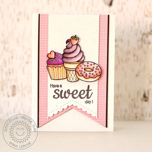 Sunny Studio Stamps Have A Sweet Day Cupcake, Ice Cream Cone & Donut Handmade Card with Scalloped V (using Fishtail Banner II Metal Cutting Dies)