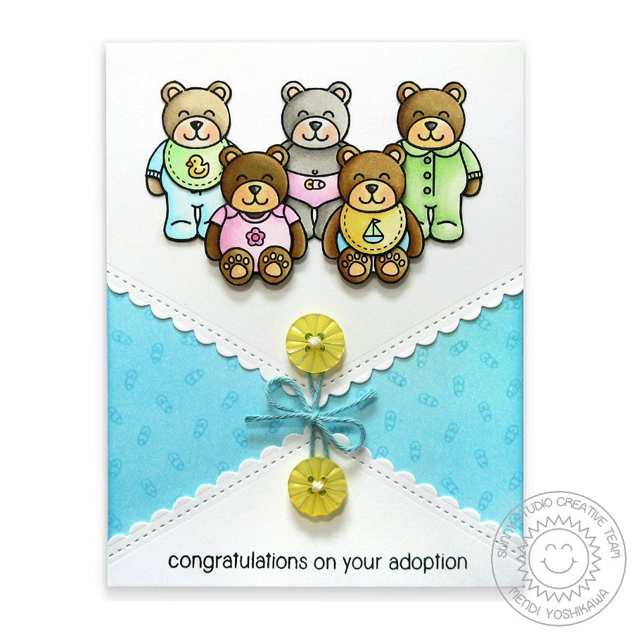 Sunny Studio Stamps Congratulations on Your Adoption Baby Bear Handmade Card with Scalloped V edge (using Fishtail Banner II Metal Cutting Dies)