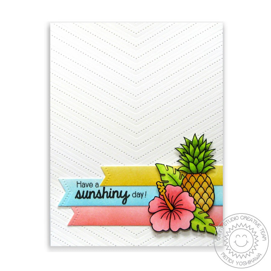 Sunny Studio Stamps Have A Sunshiny Day Tropical Summer Handmade Card with Stitched V Background (using Fishtail Banner II Metal Cutting Dies)