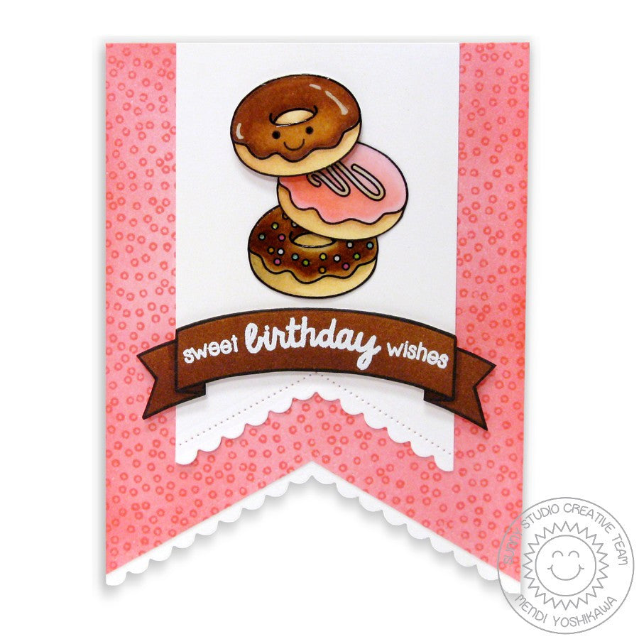 Sunny Studio Stamps Sweet Shoppe Birthday Wishes Donuts Doughnut Card