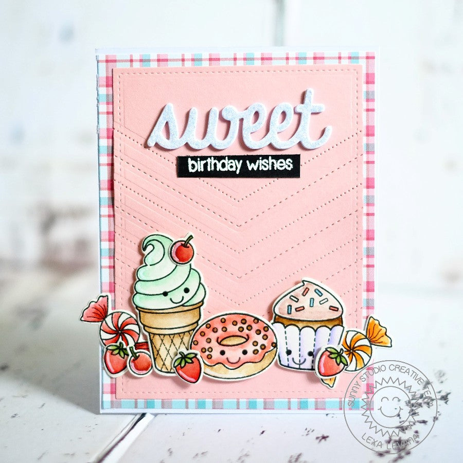 Sunny Studio Stamps Sweet Birthday Wishes Ice Cream Cone, Cupcake, Donut, Candy & Strawberry Handmade Card (using Sweet Shoppe 4x6 Clear Photopolymer Stamp Set)