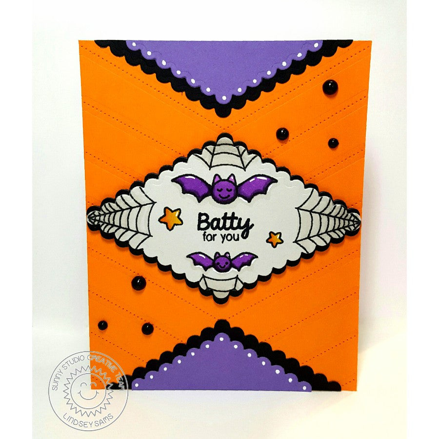 Sunny Studio Stamps Batty For You Halloween Bat Handmade Card with Scalloped Edge (using Fishtail Banner II Metal Cutting Dies)