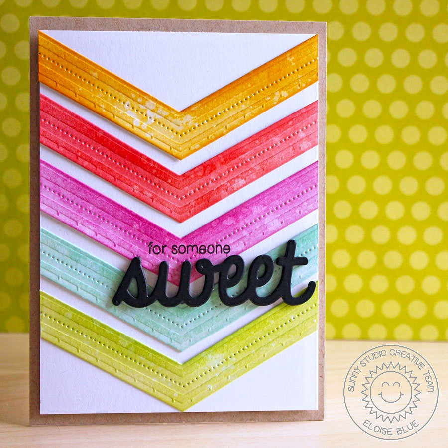 Sunny Studio Stamps Rainbow Stitched Chevron Handmade Card (using Fishtail Banner II Metal Cutting Dies)