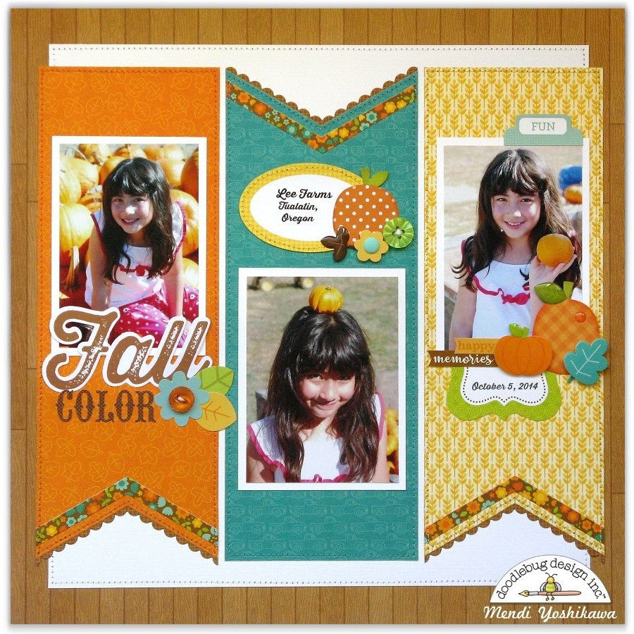 Sunny Studio Stamps Fall Scrapbook Layout Page (using Fishtail Banner II Metal Cutting Dies)