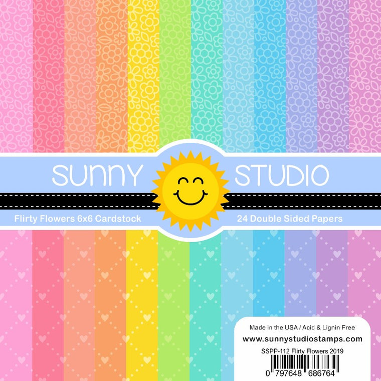 Sunny Studio Flirty Flowers 6x6 Patterned Paper Pack with 24 double-sided sheets of 65 lb. Cardstock