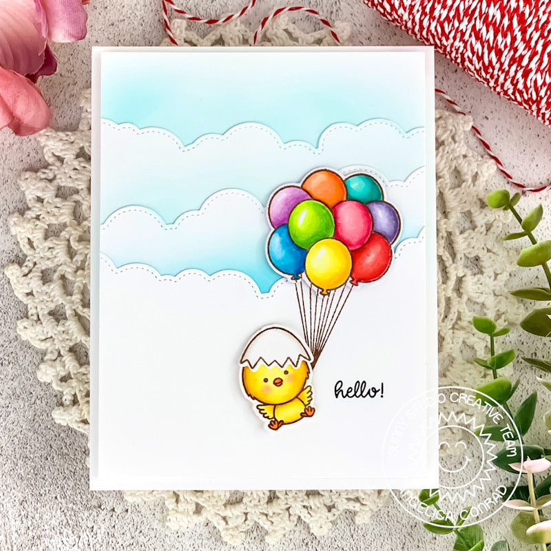 Sunny Studio Stamps Chick Hanging by Floating Balloons with Stitched Fluffy Cloud Borders Handmade Spring Card by Angelica Conrad (using Chickie Baby 4x6 Clear Stamps)