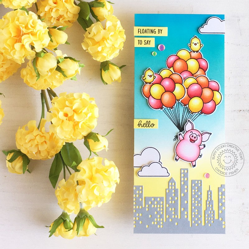 Sunny Studio Hogs & Kisses Pig Floating with Balloon Bouquet over City Handmade Card (using Cityscape Border Cutting Die)