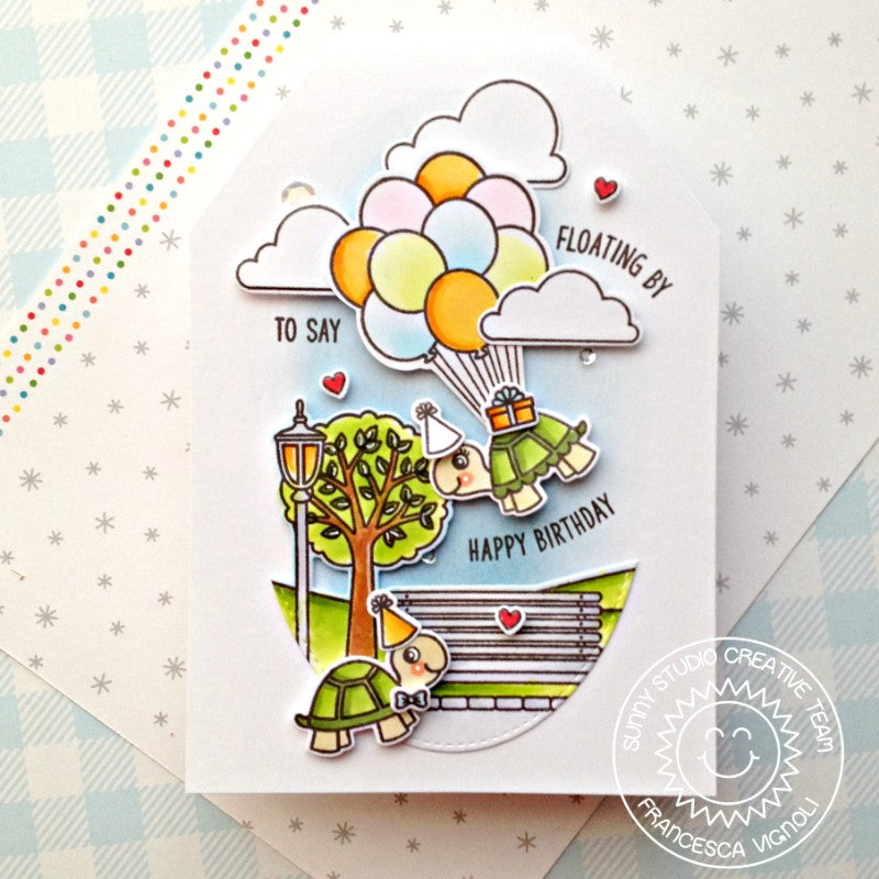 Sunny Studio Stamps Floating By To Say Happy Birthday Turtles With Balloons at the Park Scene Handmade Card (using Spring Scenes Border 4x6 Clear Photopolymer Stamp Set)