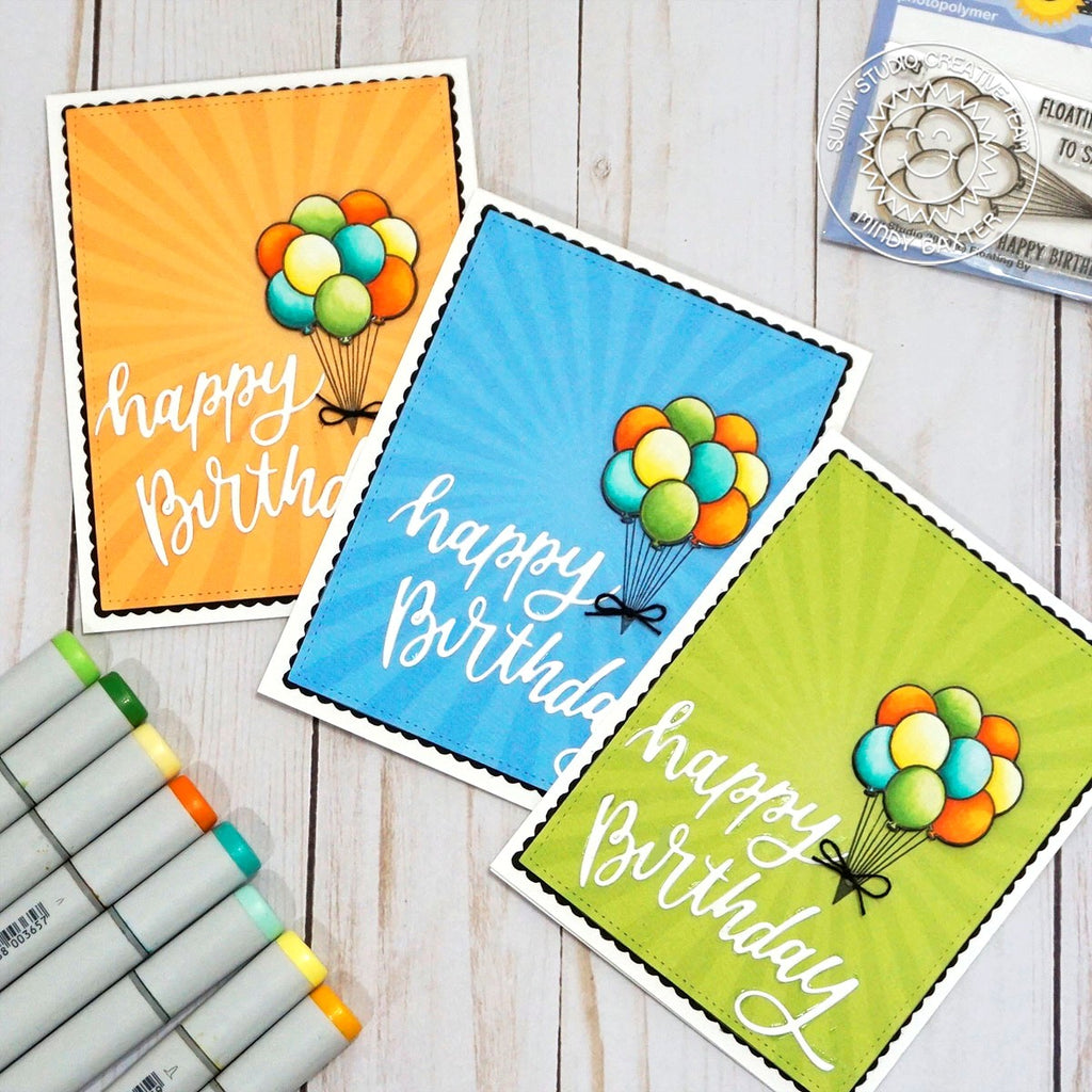 Sunny Studio Stamps Quick & Easy Balloon Handmade Happy Birthday Cards (using Blooming Frame Metal Cutting Dies)
