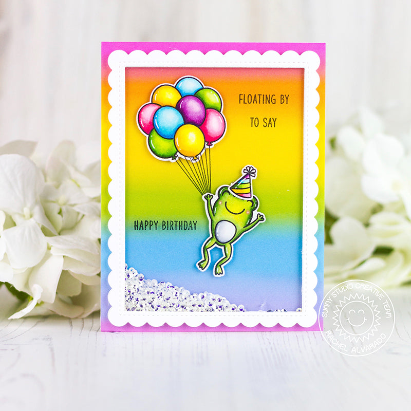 Sunny studio Stamps Floating By To Say Happy Birthday Rainbow Balloons with Leaping Frog Handmade Card (using Froggie Friends 4x6 Photopolymer Clear Stamp Set)