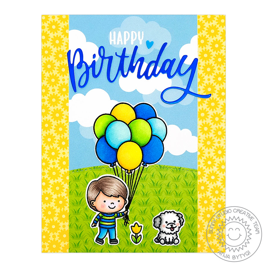 Sunny Studio Spring Boy with Yellow Daisies, Balloons and Grass Print Handmade Birthday Card (using Spring Fling 6x6 Patterned Paper Pack)