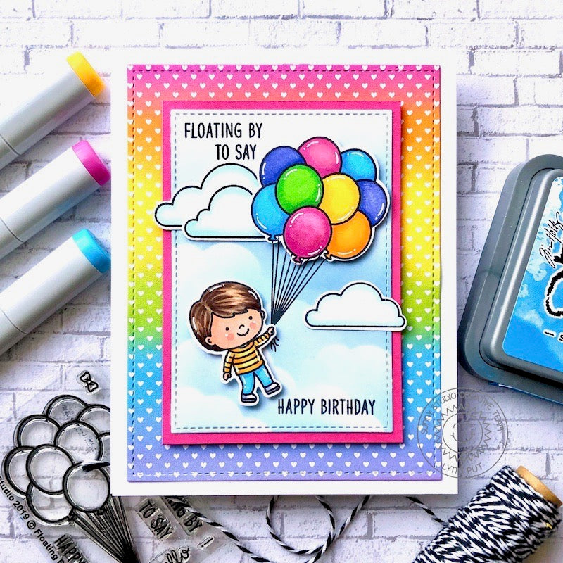 Sunny Studio Spring Boy with Floating Balloons Rainbow Ombre Heart Print Handmade Card (using Spring Fling 6x6 Patterned Paper Pack)