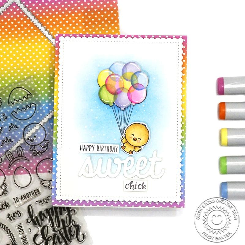 Sunny Studio Stamps Chick Hanging by Floating Transparent Balloons Handmade Spring Card by Mindy Baxter (using Chickie Baby 4x6 Clear Stamps)