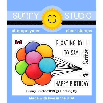 Sunny Studio Stamps Floating By Balloon Bouquet 2x3 Mini Clear Photopolymer Stamp Set
