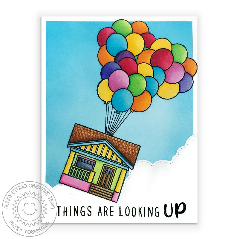 Sunny Studio Things Are Looking Up House in clouds with Floating Balloons Handmade Card (using Kinsley Alphabet Stamps)
