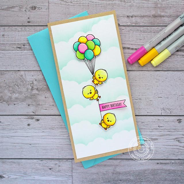 Sunny Studio Stamps Chickie Baby Hanging Chicks from Balloon Bouquet Slimline Card by Vanessa Menhorn