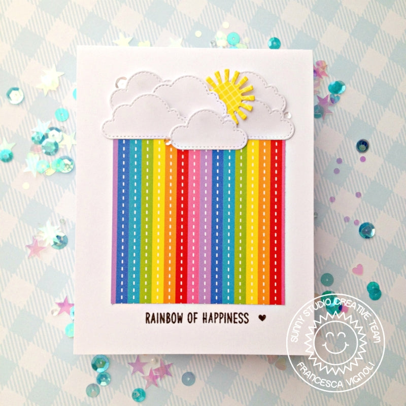 Sunny Studio Stamps Rainbow of Happiness Clouds and Sunshine Striped Card (using Fluffy Clouds Stitched Dies)