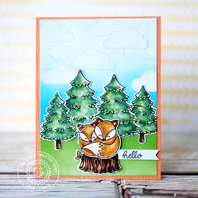 Sunny Studio Everyday Hello Fox with Tree stump in Forest Card (using Foxy Christmas Stamps)