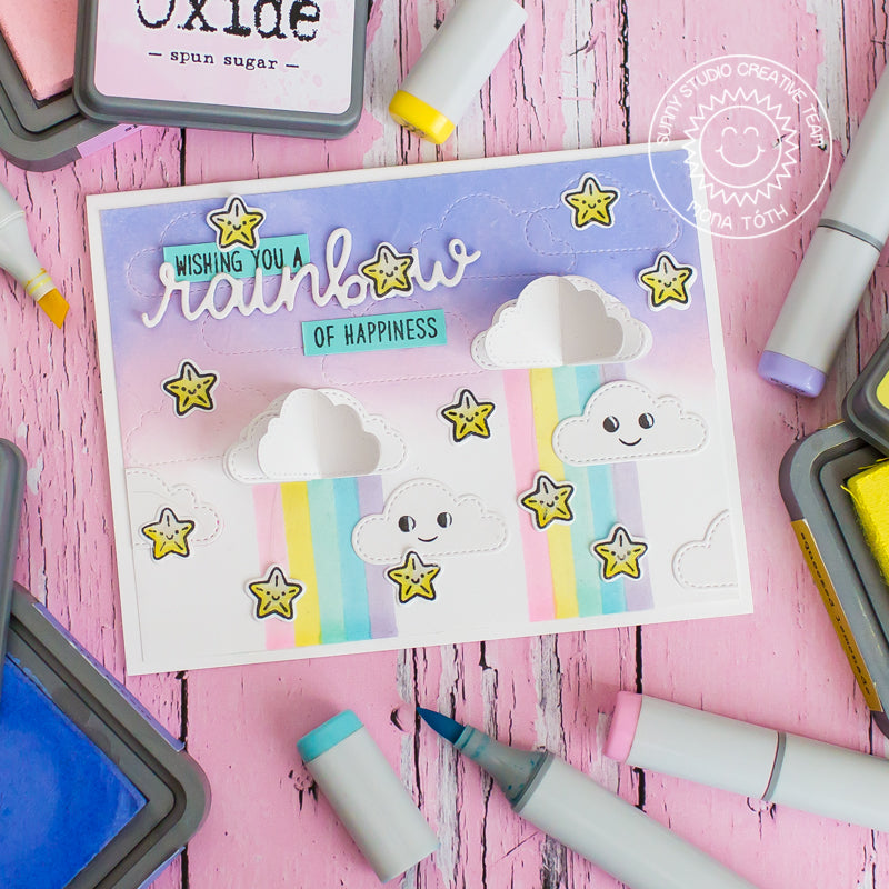 Sunny Studio Stamps Interactive 3D Pop up Clouds Card with swinging stars (using Fluffy Clouds Stitched Dies)