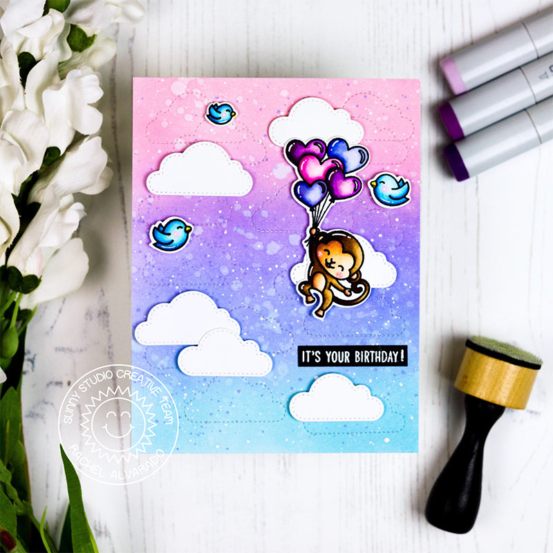 Sunny Studio Stamps Monkey floating with Heart Balloon Bouquet against a cotton candy sky (using stitched fluffy clouds dies)