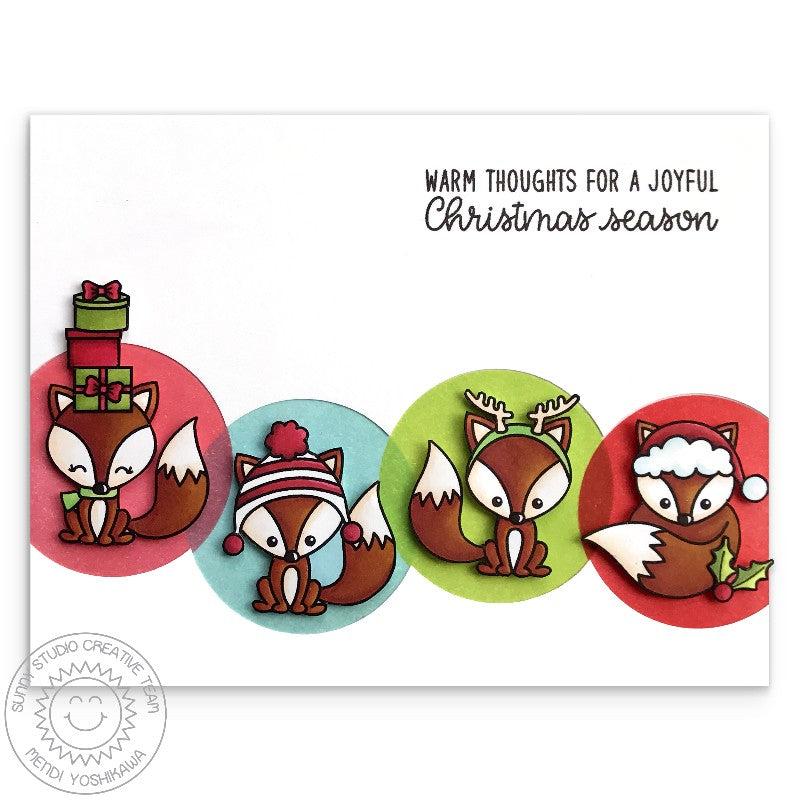 Sunny Studio Stamps Foxy Christmas Fox Holiday Card by Mendi Yoshikawa