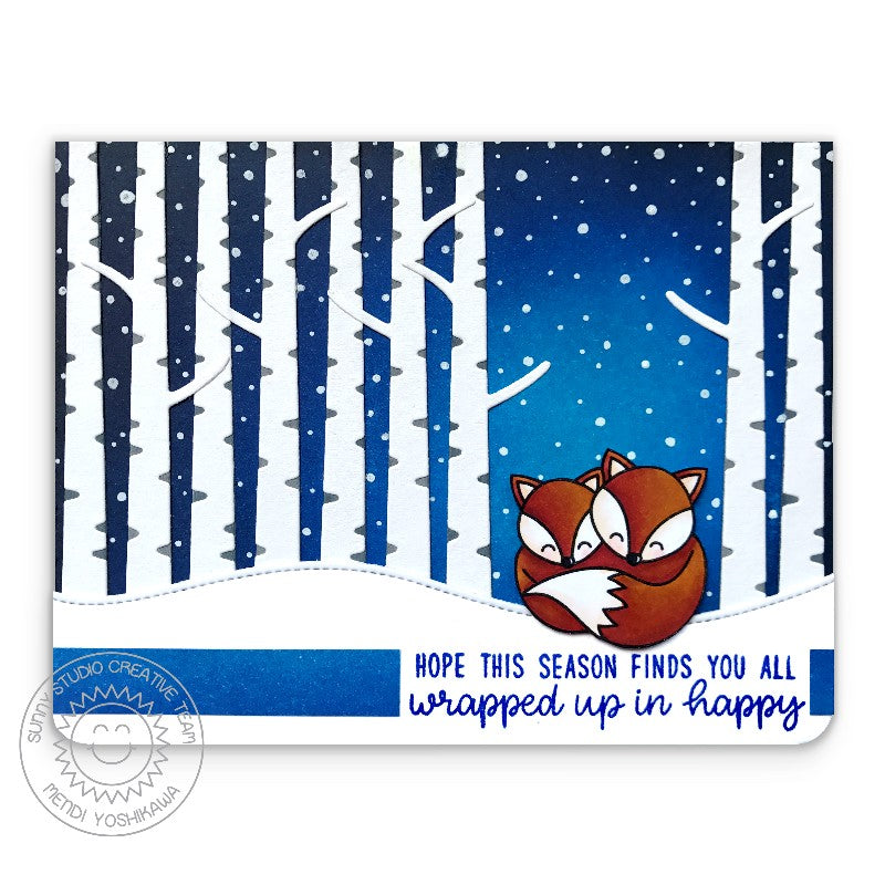 Sunny Studio Stamp Foxy Christmas Fox with Snowy Winter Birch Trees Holiday Card