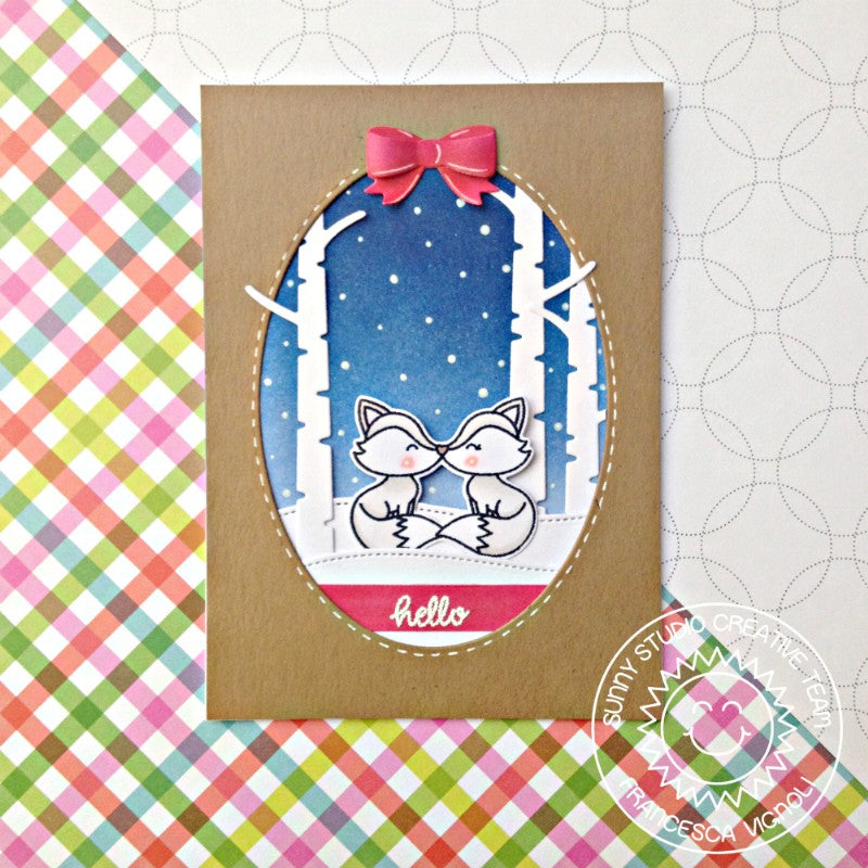 Sunny Studio Stamps Foxy Christmas Fox Winter Card with Stitched Ovals & Rustic Winter Dies