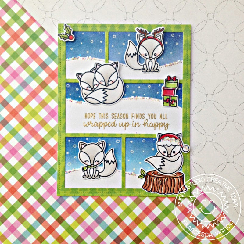 Sunny Studio Stamps Foxy Christmas Comic Strip Style Fox Holiday Card by Franci