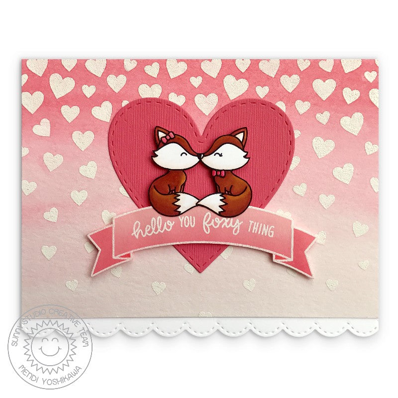 Sunny Studio Stamp Hello You Foxy Thing Pink Heart Fox Card