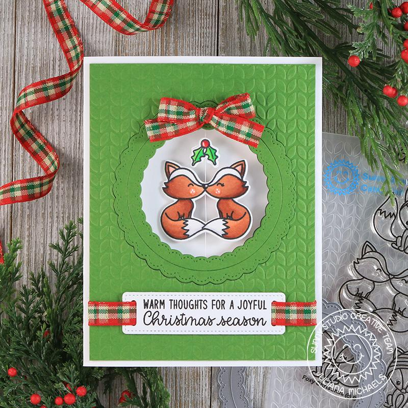 Sunny Studio Stamps Spinning Fox with Mistletoe Interactive Christmas Card by Juliana Michaels