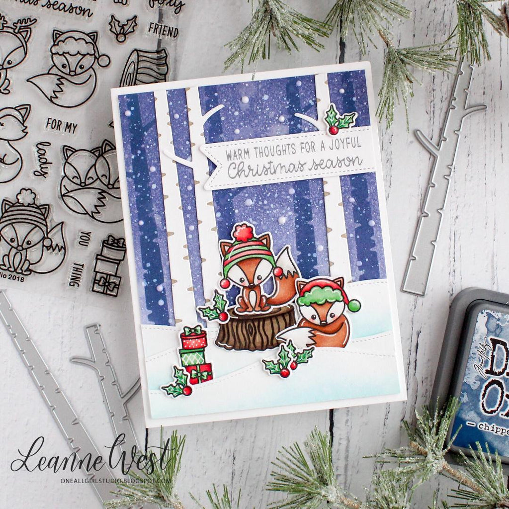Sunny Studio Stamps Foxy Christmas Fox with Birch Trees backdrop Christmas Card