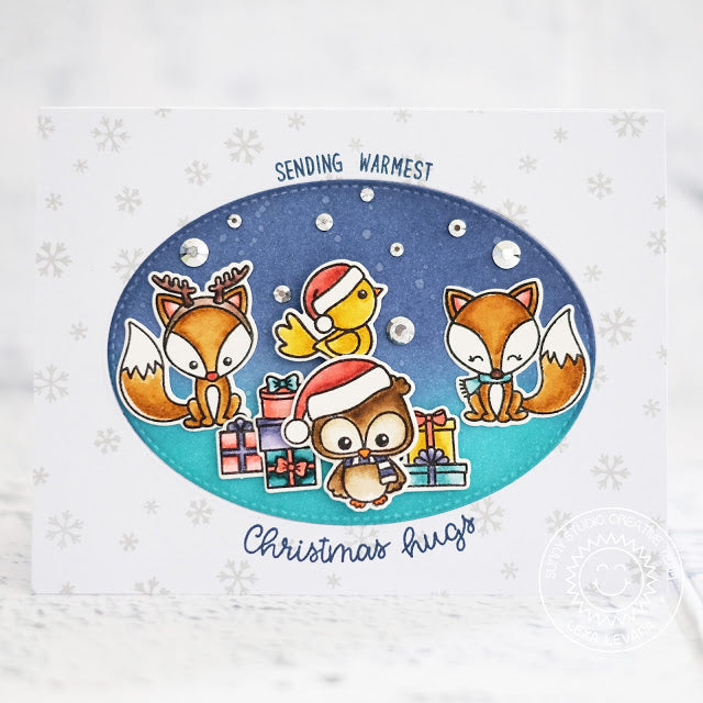 Sunny Studio Stamps Fox & Owl Christmas Card using Stitched Oval Dies