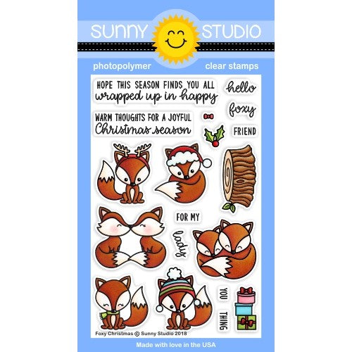 Sunny Studio Stamp Foxy Christmas Holiday Fox 4x6 Clear Photopolymer Stamp Set