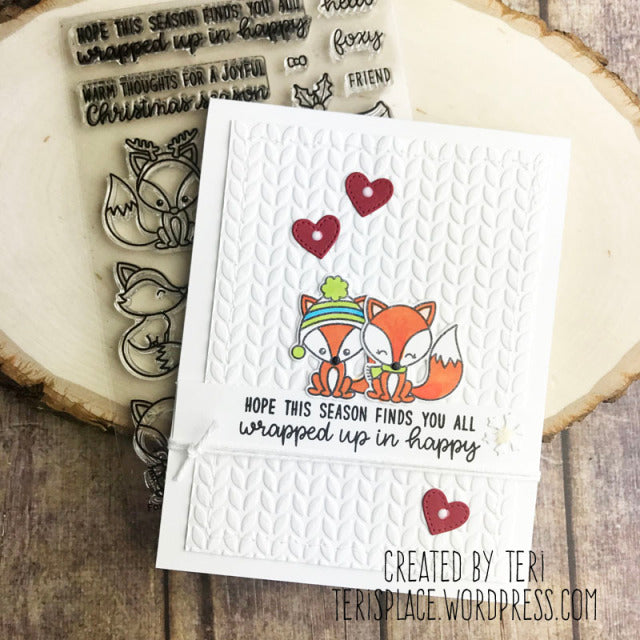 Sunny Studio Stamps Foxy Christmas Cable Knit Holiday Card by Teri Anderson.