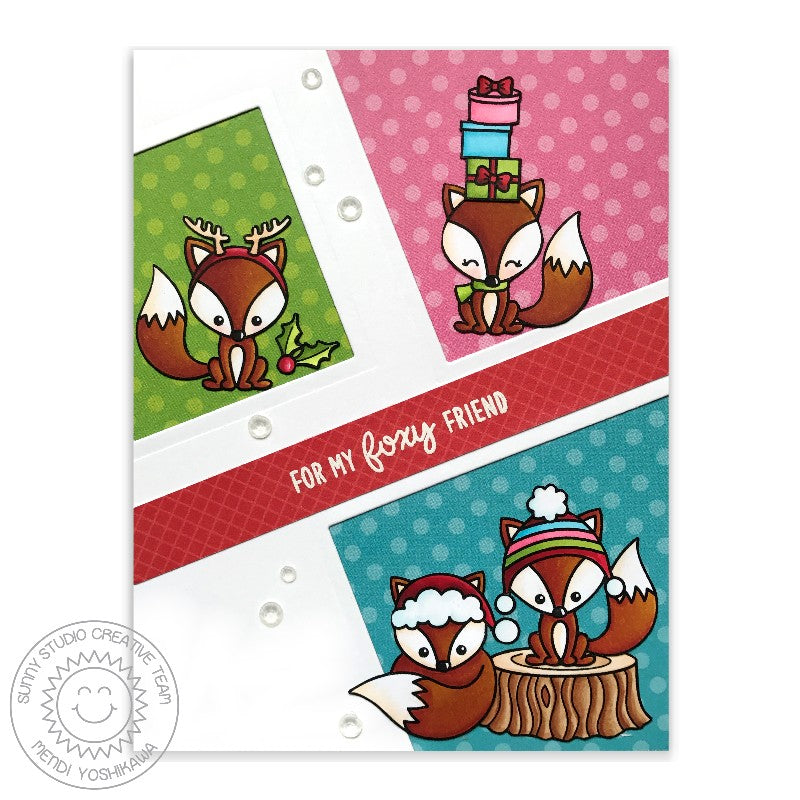 Sunny Studio Stamp Foxy Christmas Polka-dot Fox Holiday Card