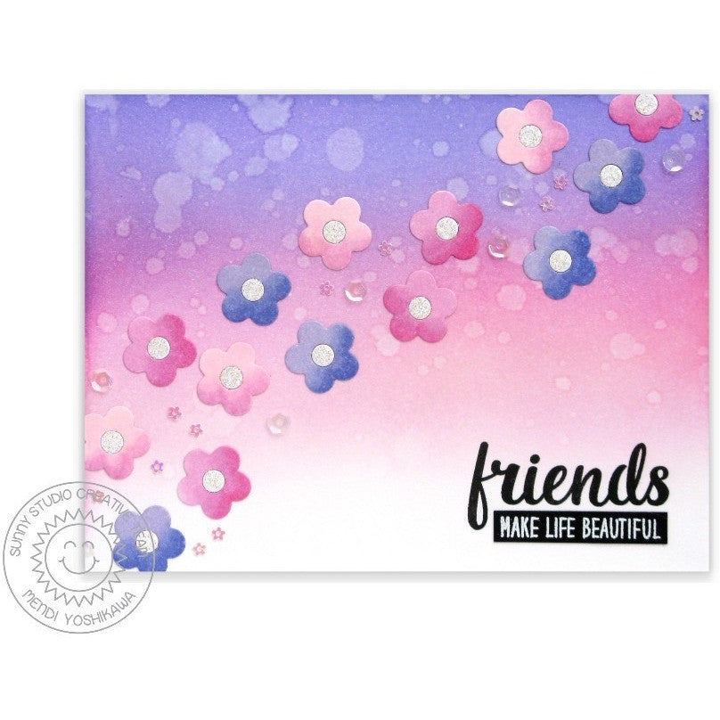 Sunny Studio Stamps Friends & Family Pink & Lavendar Scattered Flowers Card