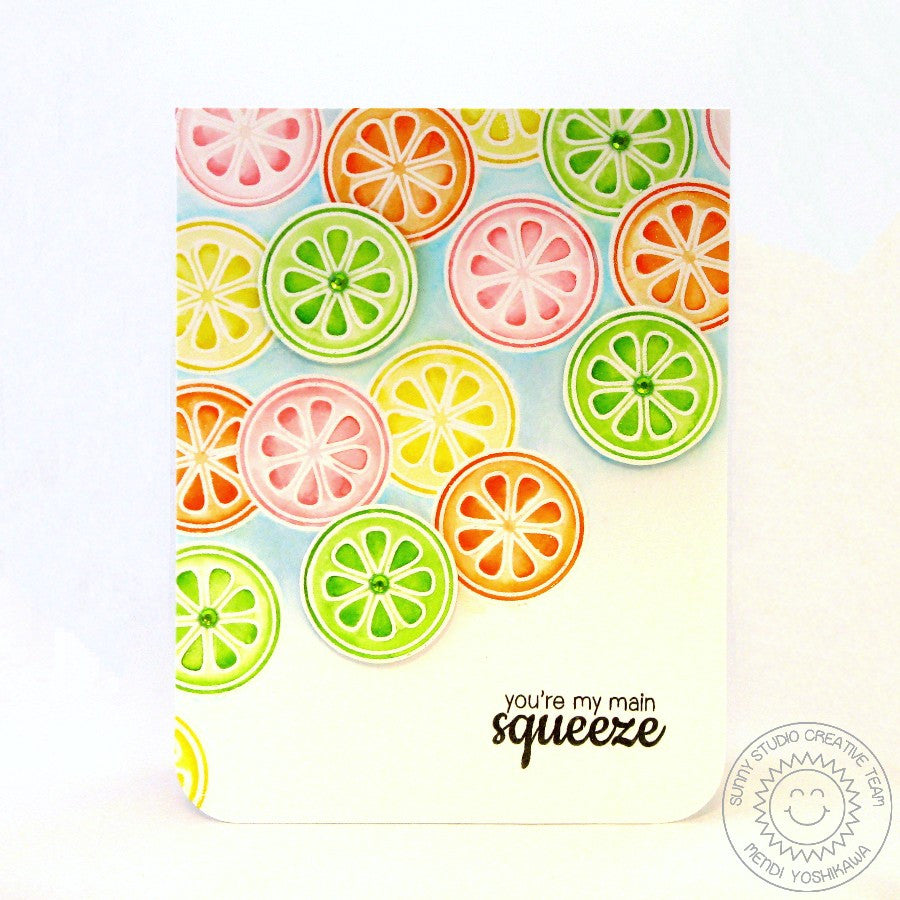 Sunny Studio Stamps Fresh & Fruity Lemon, Lime & Orange Citrus Slice Main Squeeze card
