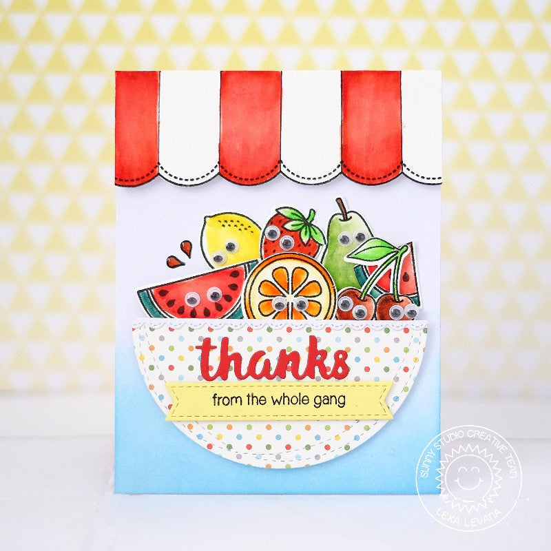 Sunny Studio Stamps Sunny Borders Fruit Stand Thank You Card with Striped Awning