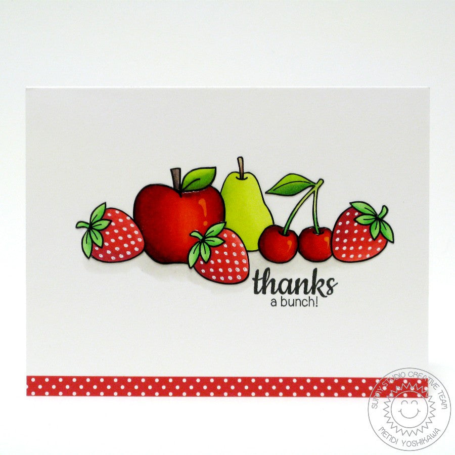 Sunny Studio Stamps Fresh & Fruity Apple, Cherry, Pear & Cherry Thanks A Bunch Card