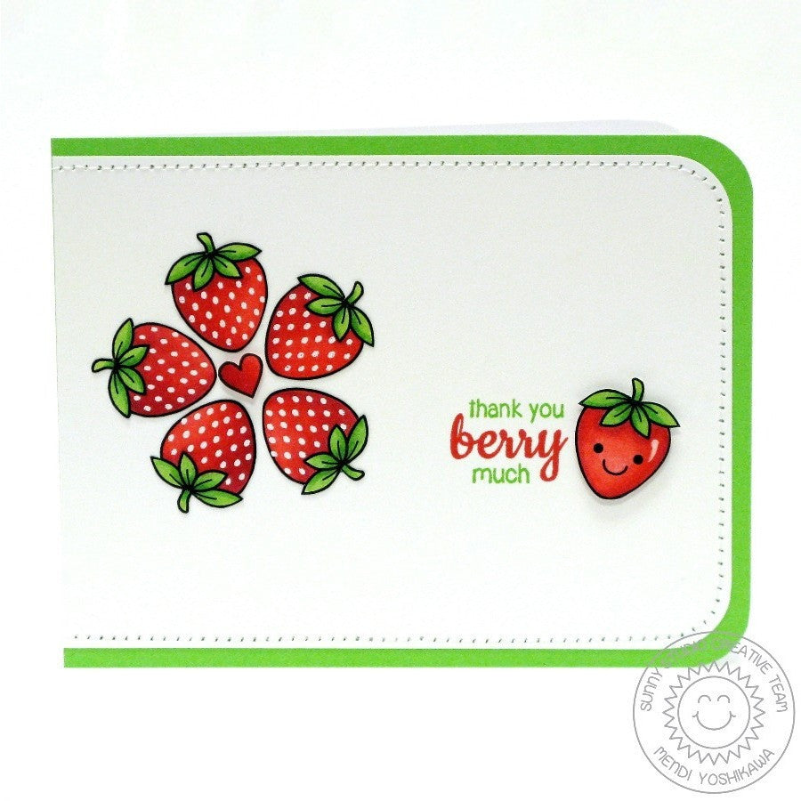 Sunny Studio Stamps Fresh & Fruity Thank you Berry Much Strawberry Card