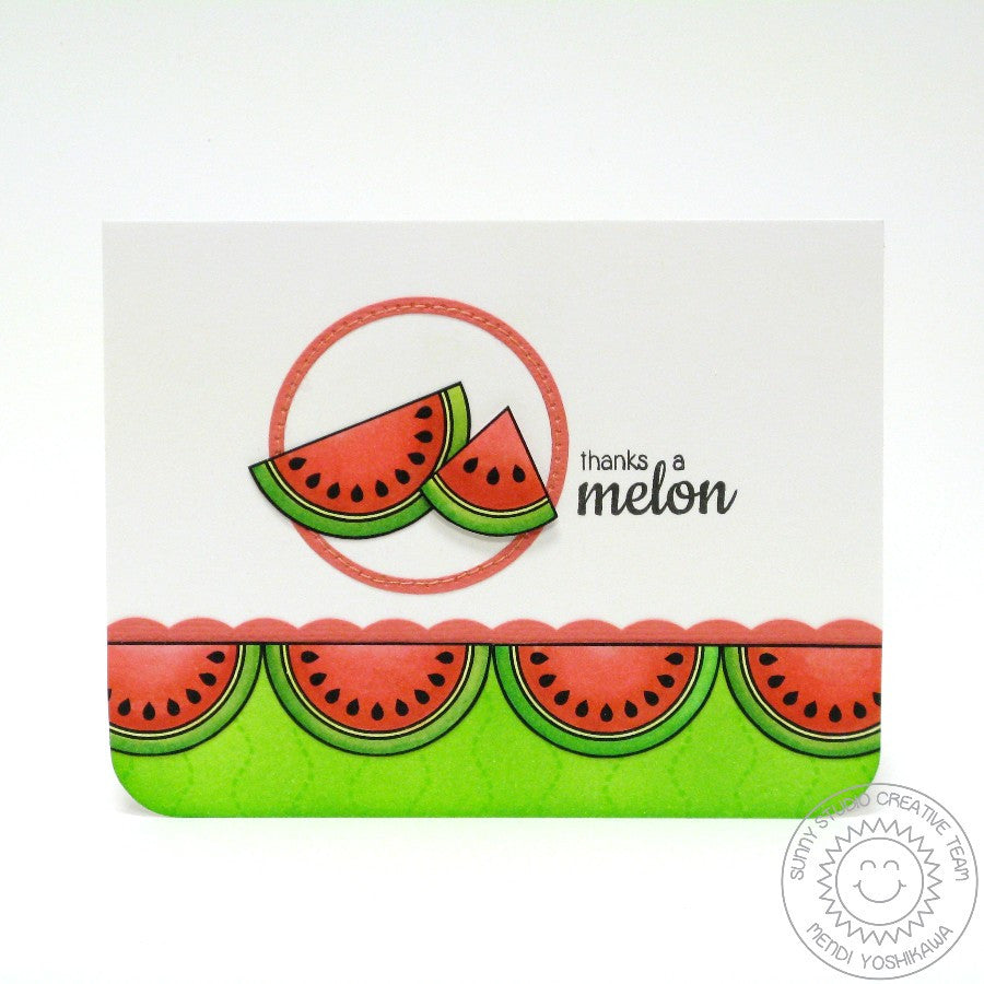 Sunny Studio Stamps Fresh & Fruity Thanks A Melon Watermelon Card
