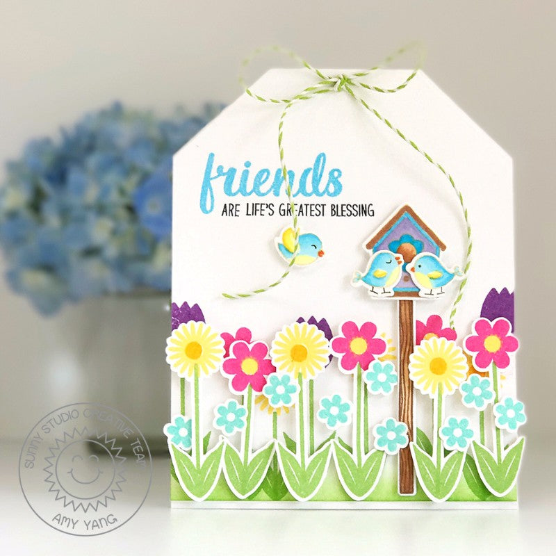 Sunny Studio Stamps Friends Are Life's Greatest Blessing Birds with Birdhouse & Flower Border Tag Shaped Card by Amy Yang (using A Bird's Life 4x6 Clear Photopolymer Stamps)