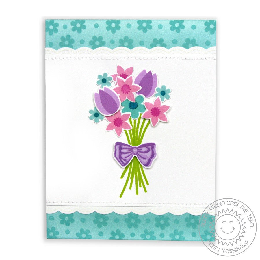 Sunny Studio Stamps Friends & Family Flower Bouquet Card