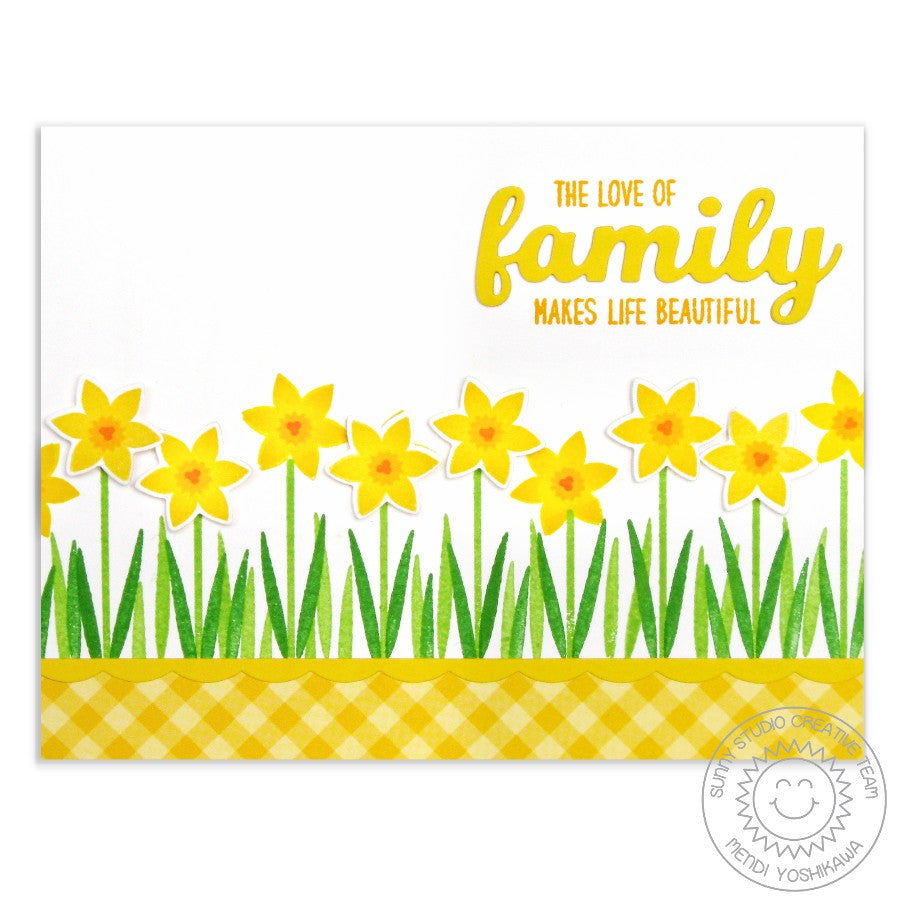 Sunny Studio Stamps Friends & Family Yellow Daffodil Border Card