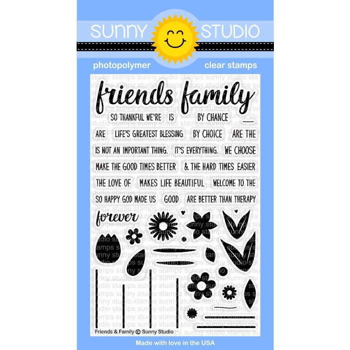 Sunny Studio Stamps Friends & Family 4x6 Photo-Polymer Clear Stamp Set