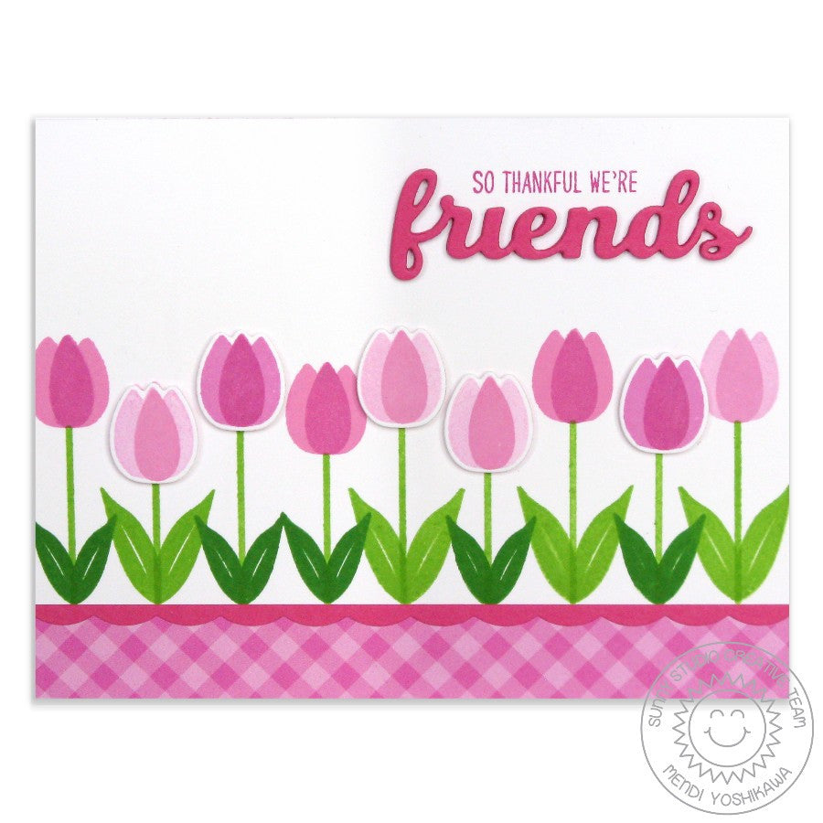 Sunny Studio Stamps Friends & Family Pink Tulip Border Card