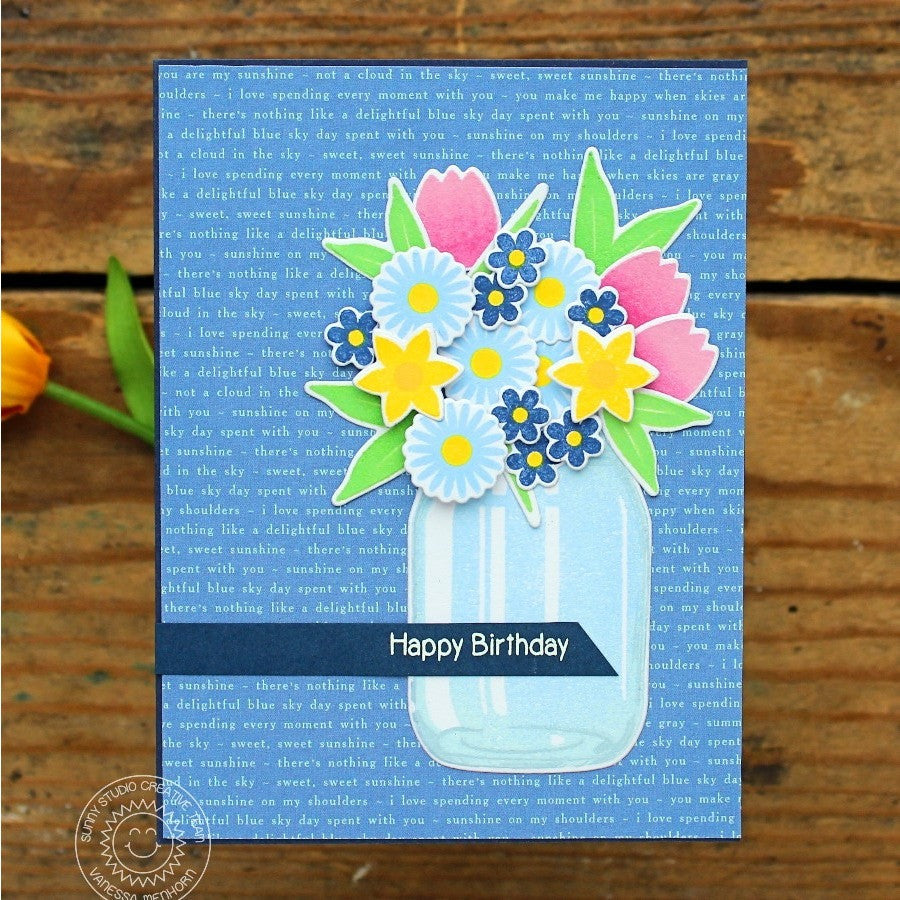 Sunny Studio Friends and Family Flowers in Vase Birthday Card (using Vintage Jar Stamps)